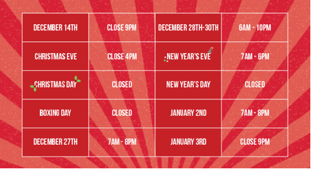 Simply Gym Christmas Timetable